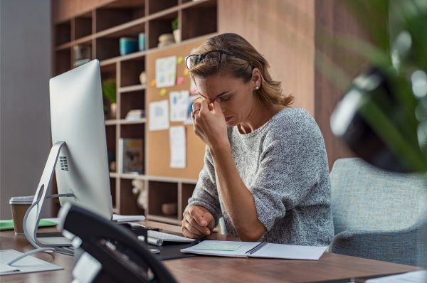stressed woman working